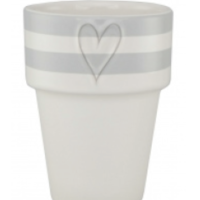 Mug Milk White Stripes L.Gray Heart