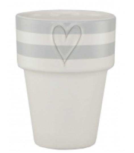 Mug Milk White Stripes L.Gray Heart