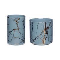 Tealight holder w/motif, blue/gold s/2
