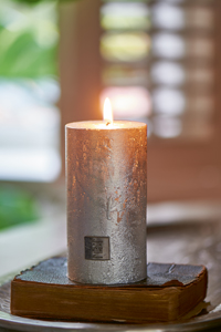 Rustic Candle silver 7 x 13