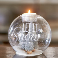 Let It Snow Forest Tealight silver