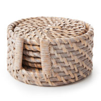 Rattan Coaster Set, White