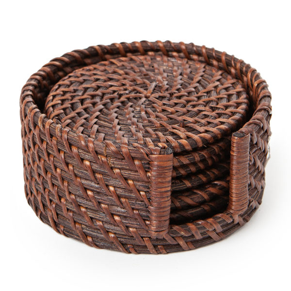 Rattan Coaster Set, ( 6 pcs), Brown