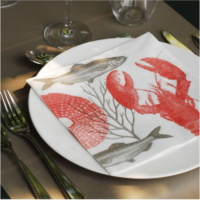 Francoise Paviot- servietti, punainen hummeri
