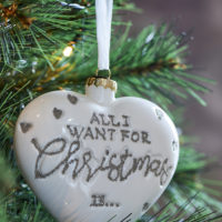 All I Want ... Heart Ornament white