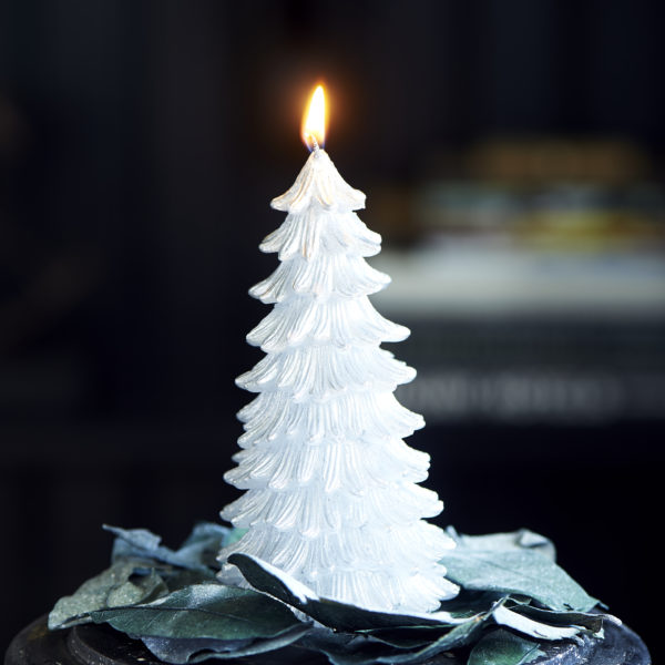 Vail Christmas Tree Candle silver