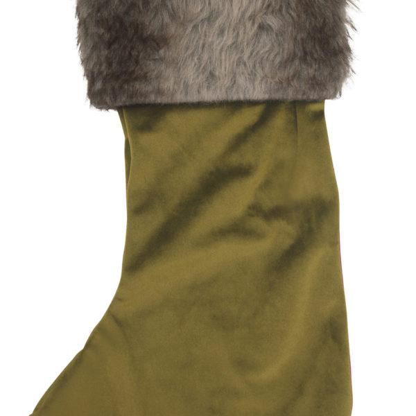 Christmas stocking, velvet, green