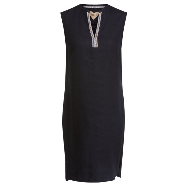 Oui Linen Dress With Chain