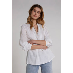 Oui Linen Blouse With Rhinestone Embellishment